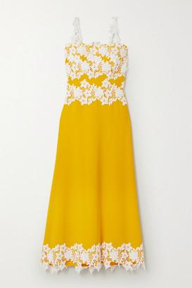 Lela Rose Guipure Lace-trimmed Stretch-crepe Midi Dress - Marigold