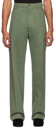 Random Identities Green High-Rise Five-Pocket Trousers