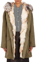 Army by Yves Salomon Women's Fur-Lined Cotton-Blend Twill Parka-GREEN