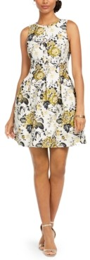 Vince Camuto Floral-Print Jacquard Fit & Flare Dress