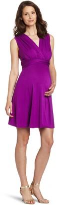 Maternal America Women's Maternity Mini Sleeveless Front Tie Dress