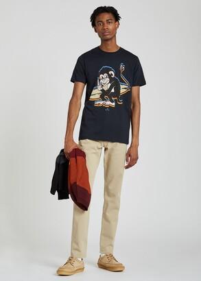 Paul Smith Men's Slim-Fit Dark Navy Cotton 'Surfing Monkey' Print T-Shirt