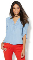 New York & Co. Soho Soft Shirt - Ultra-Soft Chambray - Bubble-Hem Blouse