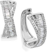 Effy Classique by 14K Diamond Crossover Hoop Earrings in 14k White or Yellow Gold (1 ct. t.w.)
