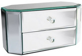 Jay Import Octagon Two Drawer Mirrored Silver Jewelry Box