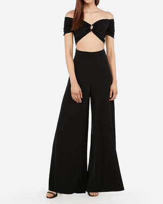 Express O-Ring Off The Shoulder Cut-Out Wide Leg Jumpsuit