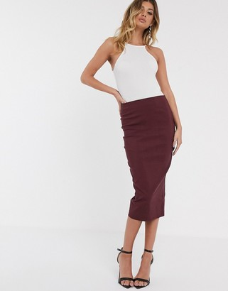 Asos DESIGN high waist longerline pencil skirt