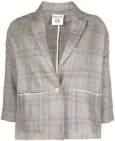 Semi-Couture Checked Loose-Fit Blazer