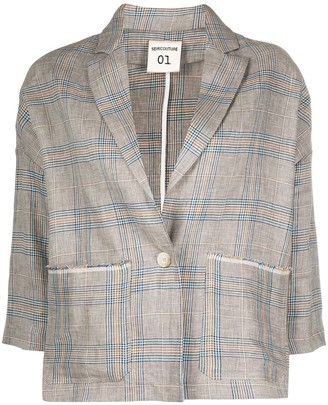 Semi-Couture Checked Loose-Fit Blazer