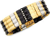 Nine West Bracelet, Multi-Tone Glass Crystal Wide Stretch Bracelet