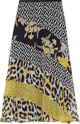 Diane von Furstenberg Darcie Paneled Printed Silk-chiffon Midi Skirt