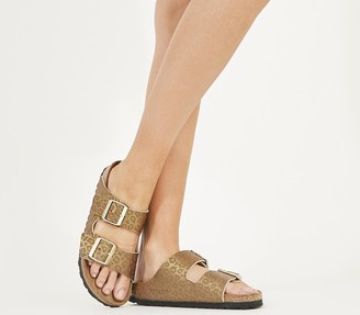 Birkenstock Arizona Two Strap Sandals Gold Leopard