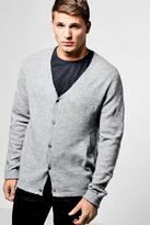Boohoo Grey Button Through Boucle Knit Cardigan