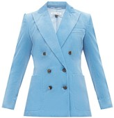 Bella Freud Bianca Double-breasted Cotton-corduroy Blazer - Womens - Blue