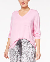 Alfani Plus Size V-Neck Knit Pajama Top, Created for Macy's