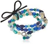 NINE WEST VINTAGE AMERICA Silver-Tone Blue Stretch Bracelet
