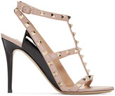 Valentino Pink and Black Rockstud Cage Sandals
