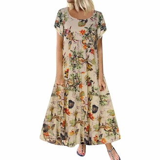 Qiran Ladies Dress FWomens Plus Size Casual Loose Sleeveless Boho Retro Linen Print Long Maxi Dress Special Design Elegant Party Dance School Days Suits Hot Skirt