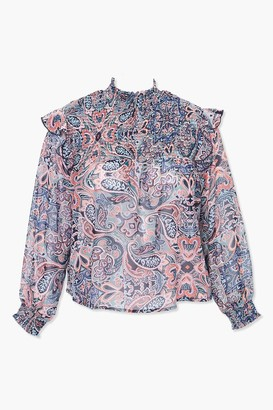 Forever 21 Plus Size Paisley Print Smocked Top