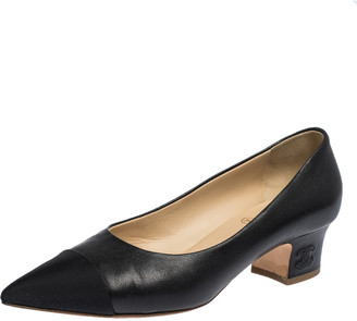 Chanel Black Leather And Canvas Cap Toe Pumps Size 37.5