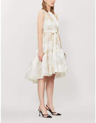 Huishan Zhang Jodie Embroidered Sleeveless Tulle Mini Dress