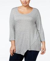 Belldini Plus Size Studded Asymmetric-Hem Tunic Top