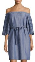 Laundry by Shelli Segal Embroidered Off-the-Shoulder Chambray Dress