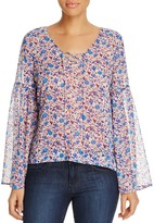 Sanctuary Lila Lace-Up Bell Sleeve Floral Blouse - 100% Exclusive
