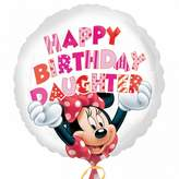 Anagram Disney Minnie Mouse Happy Birthday Daughter 18 Inch Circular Foil Balloon