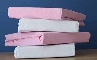 Dudu N Girlie Jersey Cotton Travel Cot Fitted Sheets, 2-Piece, White & Pink