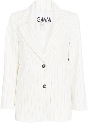Ganni Pinstripe Crepe Blazer