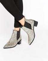 Office Amber Silver Glitter Chelsea Boots