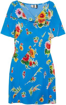 Topshop Paneled Floral-print Silk-satin Mini Dress