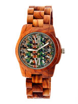 Earth Wood Heartwood Skateboard-Dial Red Bracelet Watch With Date Ethew1507