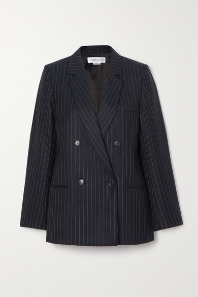 Victoria Beckham Double-breasted Pinstriped Wool-twill Blazer - Navy