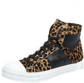 Thumbnail for your product : Amiri Brown/Black Leopard Print Calfhair and Leather Sunset High Top Sneakers Size 40