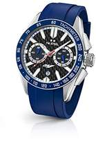 TW Steel Yamaha Factory Racing Unisex Quartz Watch with Black Dial Chronograph Display and Blue Rubber Strap GS3