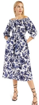 INC International Concepts Inc Cotton Printed Smocked Off-The-Shoulder Dress, Created for Macy's
