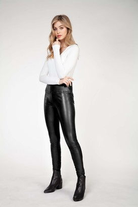 Dex High Waisted Faux Leather Legging Black