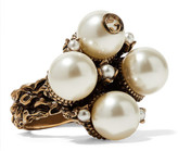 Gucci Gold-tone Faux Pearl Ring - 16