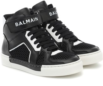 Balmain Kids Leather high-top sneakers