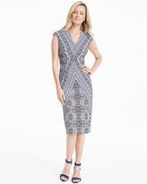 White House Black Market Cap-Sleeve Printed Knit Sheath Dress