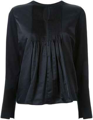 TOMORROWLAND Satin-Panelled Jersey Blouse