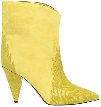 Isabel Marant Yellow Leather Ankle boots