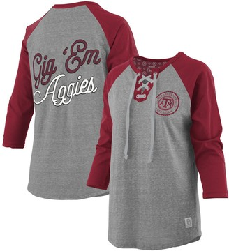 Women's Pressbox Heathered Gray/Maroon Texas A&M Aggies Plus Size Two-Hit Lace-Up Raglan Long Sleeve T-Shirt