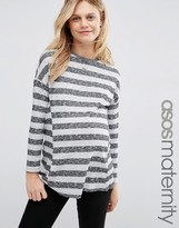Asos Longline Top in Textured Stripe Rib