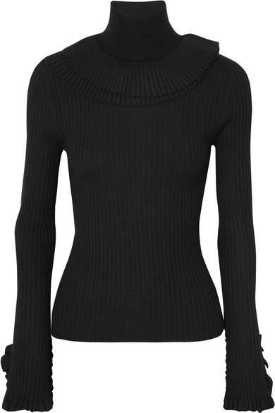 Chloé Ruffled Ribbed Wool Turtleneck Sweater - Black