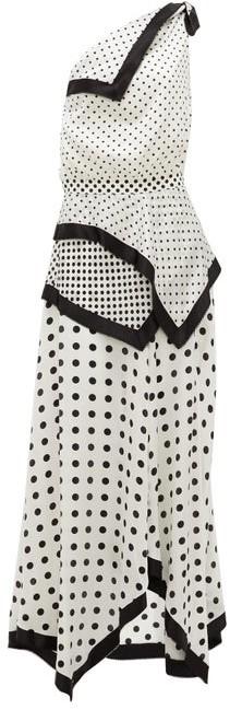 Altuzarra Petrel One-shoulder Polka-dot Silk-satin Dress - White Black