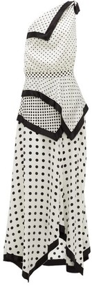 Altuzarra Petrel One-shoulder Polka-dot Silk-satin Dress - White Black