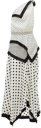 Altuzarra Petrel One-shoulder Polka-dot Silk-satin Dress - Womens - White Black